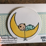 Baby card made with Moon Baby stamp set! Colour with the new Stampin