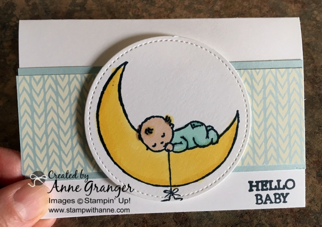 Baby card made with Moon Baby stamp set! Colour with the new Stampin' Blends markers.