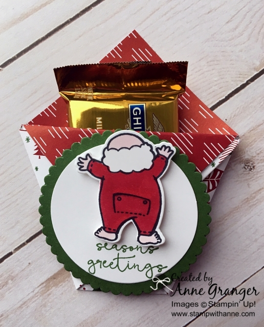 Adorable Diaper Fold Treat Holder made with the Santa's Suit.