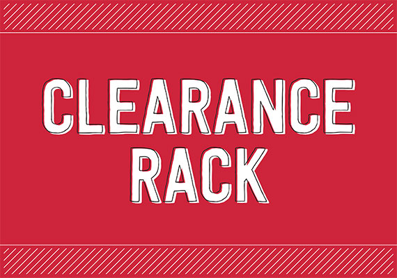The clearance rack has been refreshed with new items, while supplies last!